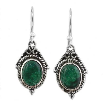 Hand Made Sterling Silver Green Onyx Dangle Earrings India