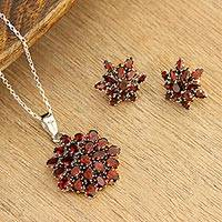 Garnet pendant necklace, 'Red Sunflower'