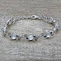 Moonstone and sapphire link bracelet, 'Moon Blue'