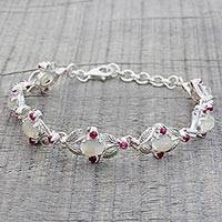 Moonstone and ruby link bracelet, 'Moon Red' - Sterling Silver Moonstone Ruby Link Bracelet India
