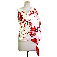 Silk shawl, 'Kolkata Blossoms in Red' - Hand Woven Silk Shawl Floral Motifs Red from India
