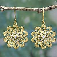 18k gold plated dangle earrings, 'Floral Paisley' - 18k Gold Plated Sterling Silver Cubic Zirconia Earrings