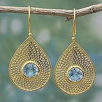 Gold plated blue topaz dangle earrings, 'Jali Drops' - Blue Topaz 18k Gold Plated Teardrop Jali Dangle Earrings