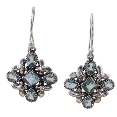 Blue Topaz Sterling Silver Dangle Earrings from India