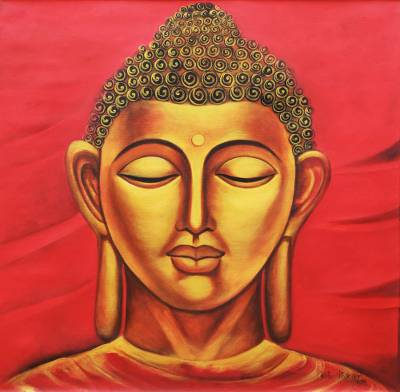 'Buddha - Prince of Peace' - Portrait of Golden Buddha Meditating Signed Painting