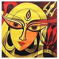 'The Fierce Durga' - Hindu Goddess Durga Signed Original Painting from India