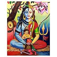 'Shiva's Family' - Multicolor Signed Hindu Painting Shiva Parvati and Ganesha
