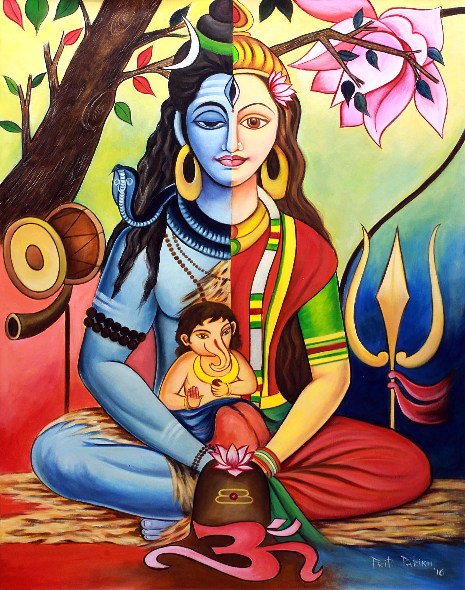 UNICEF Market | Multicolor Signed Hindu Painting Shiva Parvati and Ganesha  - Shiva's Family