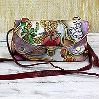 Leather shoulder bag, 'Royal Court' - Hand Painted Leather Shoulder Bag of Court Scene from India