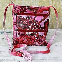 Leather sling bag, 'Pink Sweetness' - Hand Painted Leather Sling Bag Pink Floral from India