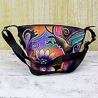 Leather shoulder bag, 'Floral Thrill' - Painted Leather Adjustable Tote Handbag Multicolored India
