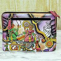 Leather clutch handbag, 'Royal Court' - Hand Painted Leather Clutch Handbag Multicolored from India