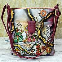 Leather sling bag, 'Royal Court' - Leather Shoulder Tote Handbag Multicolored from India
