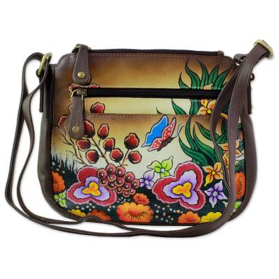 Brown Multicolored Leather Sling Handbag from India