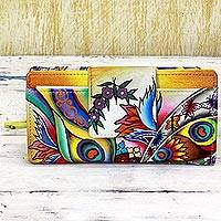 Leather wallet, 'Peacock Allure' - Hand Painted Leather Wallet Multicolored Floral Motif India