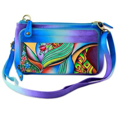 Blue Hand Painted Leather Small Handbag from India