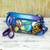 Leather shoulder bag, 'Spring Abode' - Blue Hand Painted Leather Small Handbag from India (image 2b) thumbail