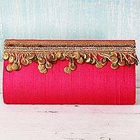 Silk clutch handbag, 'Fuchsia Glamour' - Silk Clutch in Fuchsia with Golden Beads from India