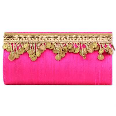 Silk Clutch in Fuchsia with Golden Beads from India