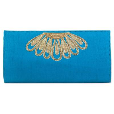 100% Polyester Embroidered Clutch Caribbean Blue India