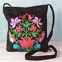 Cotton blend shoulder bag, 'Joyful Spring' - Cotton Blend Shoulder Bag Black Floral Motifs from India