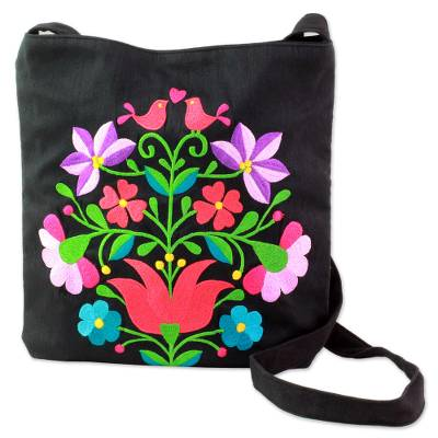 Cotton Blend Shoulder Bag Black Floral Motifs from India