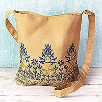 Cotton shoulder bag, 'Beige Delight'