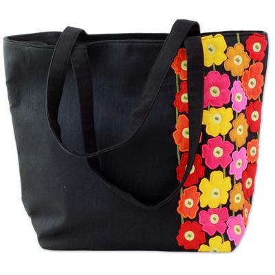 Novica Cotton blend tote handbag, Spring Memories