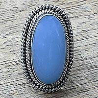 Chalcedony cocktail ring, 'Cool Ecstasy' - Blue Chalcedony and Sterling Silver Large Cocktail Ring