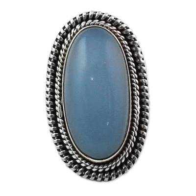 Blue Chalcedony and Sterling Silver Large Cocktail Ring