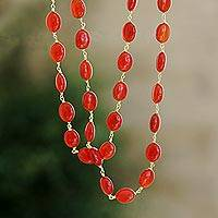 Gold plated carnelian long beaded necklace, 'Flaming Romance' - Hand Made Gold Plated Carnelian Beaded Necklace from India