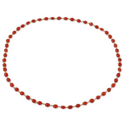 Hand Made Gold Plated Carnelian Beaded Necklace from India