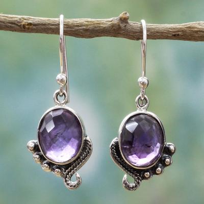 Novica Amethyst dangle earrings, Indian Delight in Purple
