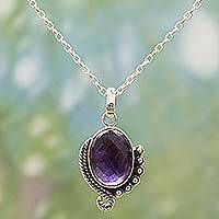 Amethyst pendant necklace, 'Indian Delight in Purple' - Sterling Silver Amethyst Pendant Necklace from India