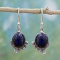 Lapis lazuli dangle earrings, 'Indian Delight in Blue' - Sterling Silver Lapis Lazuli Dangle Earrings from India