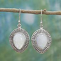 Rainbow moonstone dangle earrings, 'Gleaming Petals' - Sterling Silver Rainbow Moonstone Dangle Earrings from India