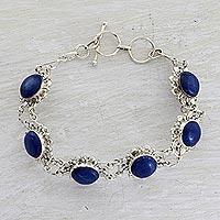 Lapis lazuli link bracelet, 'Nighttime Glamour' - Sterling Silver Lapis Lazuli Link Bracelet from India