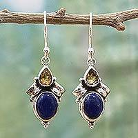 Citrine and lapis lazuli dangle earrings, 'Indian Fog' - Citrine Lapis Lazuli Dangle Earrings from India