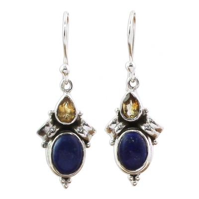 Citrine Lapis Lazuli Dangle Earrings from India