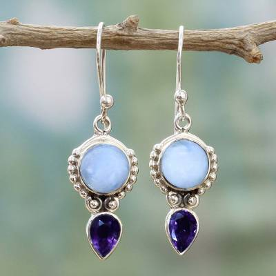 Amethyst and rainbow moonstone dangle earrings, 'Indian Rain' - Amethyst Rainbow Moonstone Dangle Earrings from India
