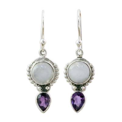 Amethyst Rainbow Moonstone Dangle Earrings from India