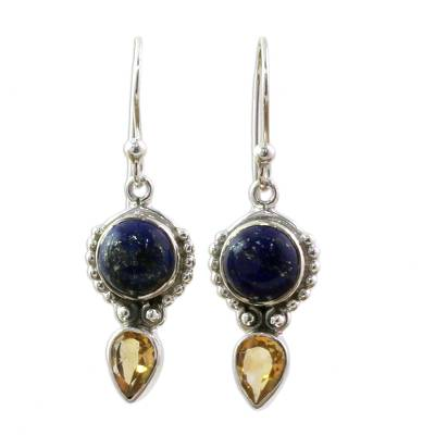 Handmade Citrine Lapis Lazuli Dangle Earrings from India