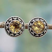 Citrine button earrings, 'Indian Elegance in Yellow' - Hand Made Faceted Citrine Button Earrings from India