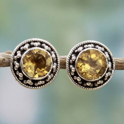 Faceted Citrine Button Earrings
