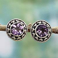 Amethyst button earrings, 'Indian Elegance in Purple' - Hand Made Faceted Amethyst Button Earrings from India