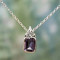 Amethyst pendant necklace, 'Indian Grace in Purple' - Hand Made Faceted Amethyst Pendant Necklace from India