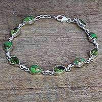Peridot link bracelet, 'Sunny Drops in Green' - Peridot Composite Turquoise Link Bracelet from India