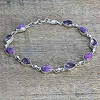 Amethyst link bracelet, 'Sunny Drops in Purple' - Amethyst Composite Turquoise Link Bracelet from India