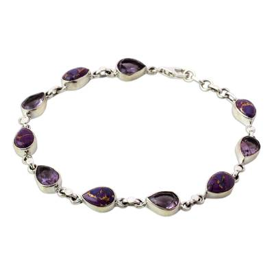Amethyst Composite Turquoise Link Bracelet from India