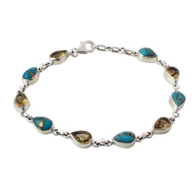 Citrine Composite Turquoise Link Bracelet from India